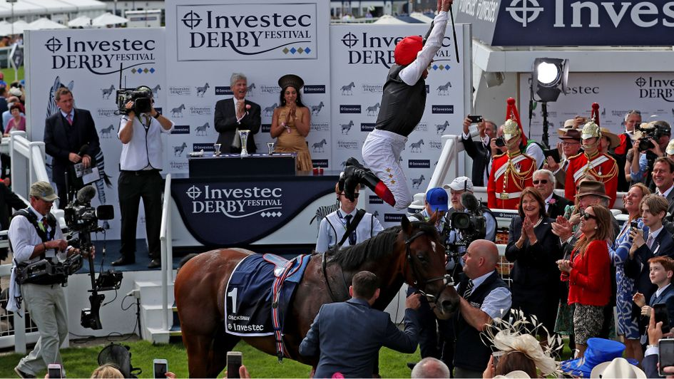 A flying dismount from Frankie Dettori after Cracksman's narrow win