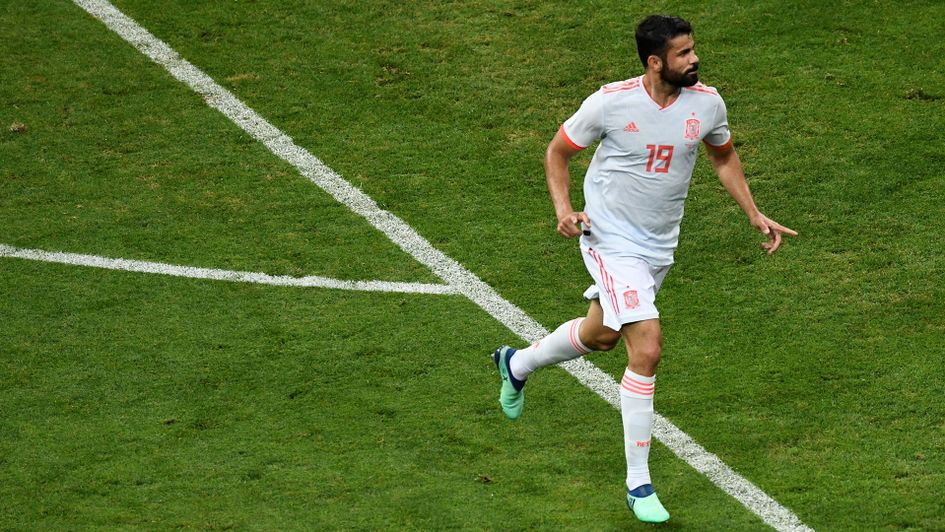 Diego Costa celebrates after scoring for Spain v Portugal