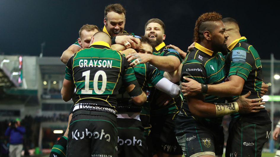 Northampton celebrate their big win over Leicester