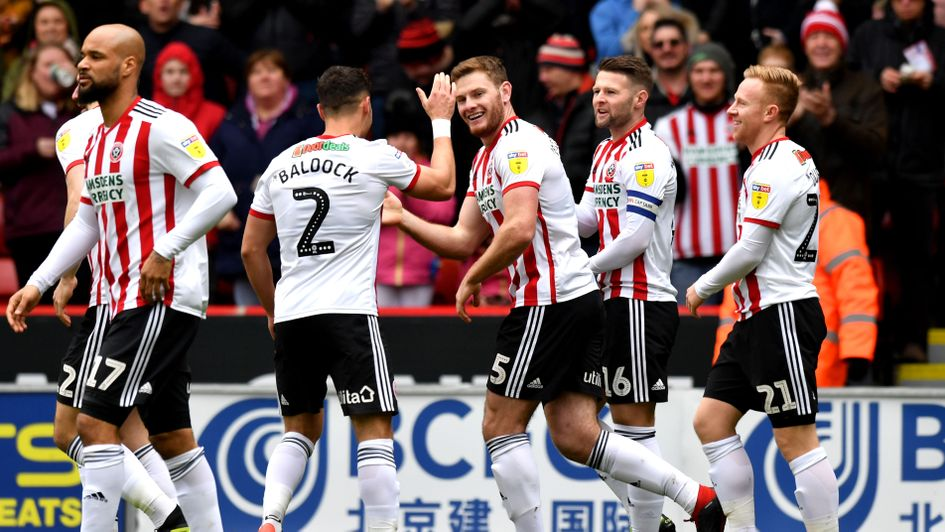 Celebrations for Sheffield United after Jack O'Connell's goal against Rotherham