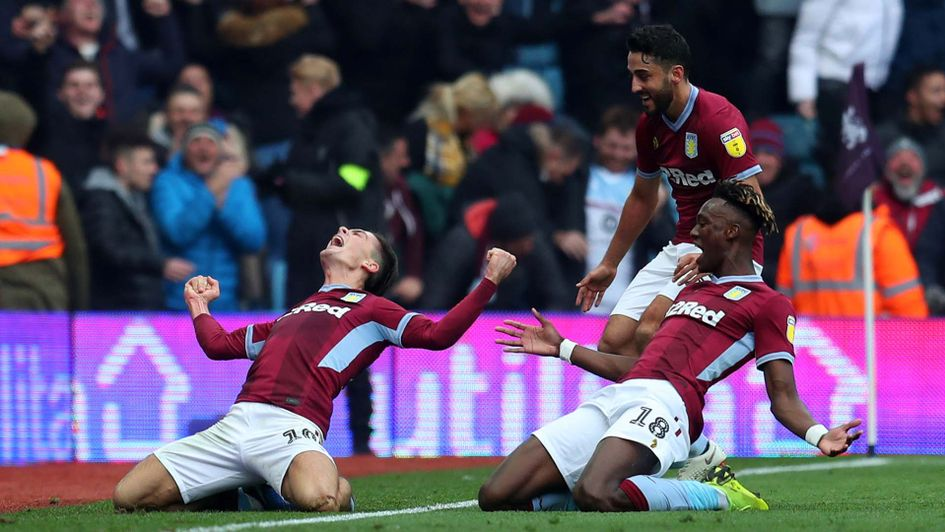 Jack Grealish celebrates a goal for Aston Villa