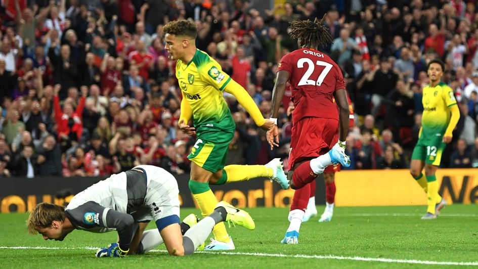 Divock Origi: Liverpool forward celebrates a goal in the season-opening win over Norwich