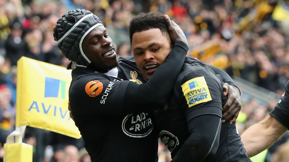 Wasps duo Christian Wade and Juan de Jongh celebrate
