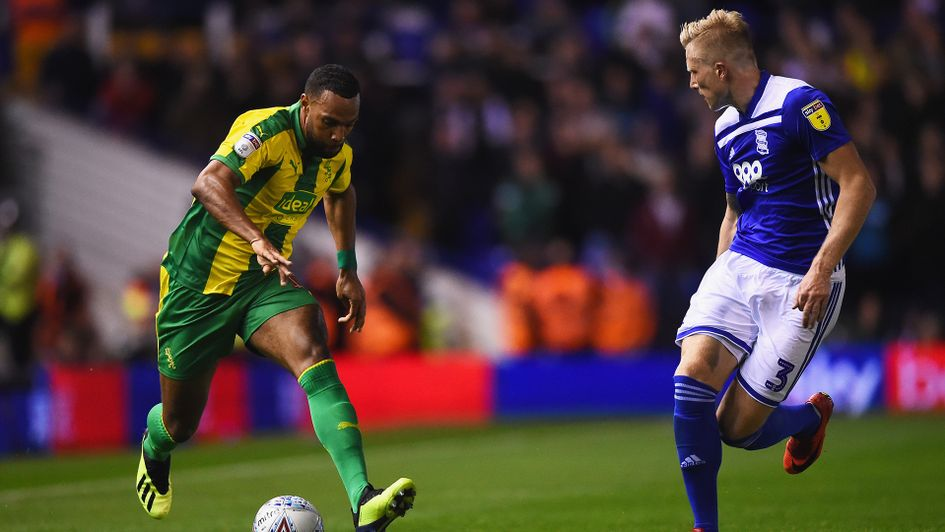 Kristian Pedersen (right) in action against West Brom