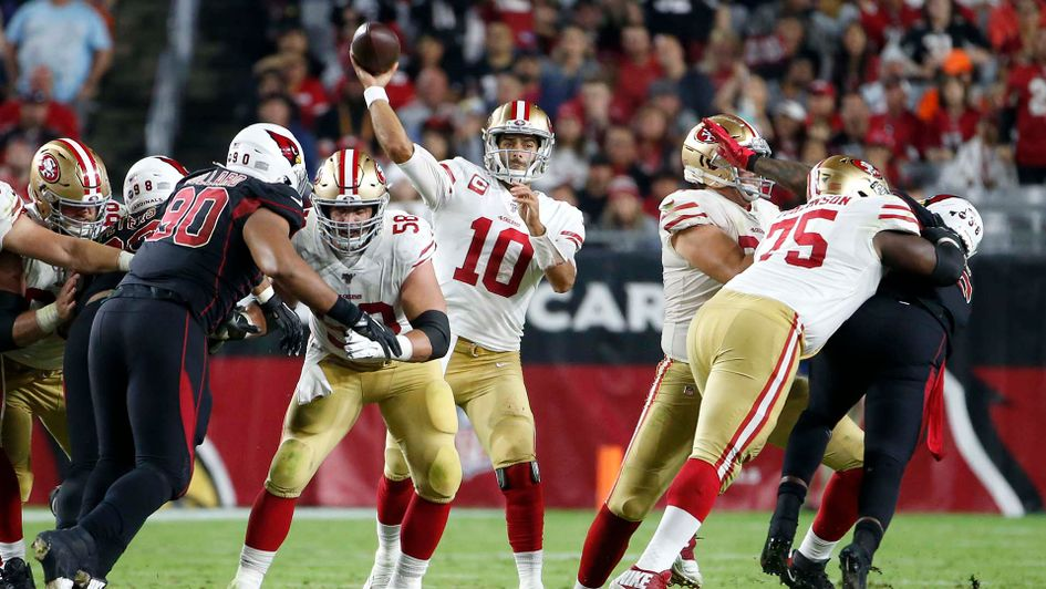 San Francisco 49ers quarterback Jimmy Garoppolo in action against Arizona in the NFL