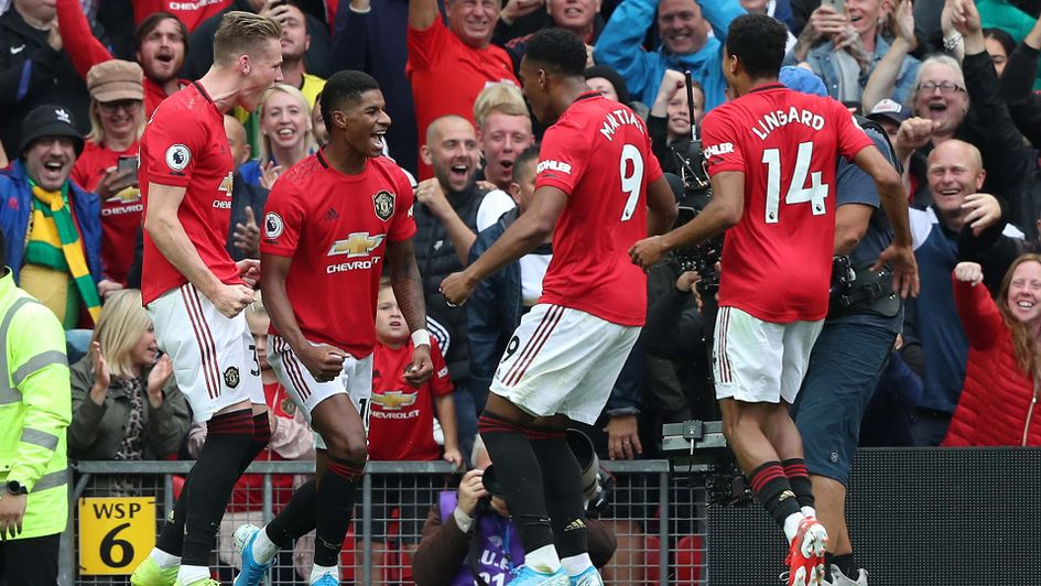 Marcus Rashford and Anthony Martial celebrate for Manchester United