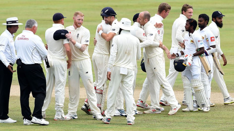 England celebrate their second Test win in Kandy