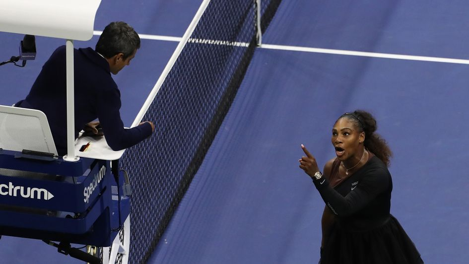 Serena Williams argues with umpire Carlos Ramos in the US Open final