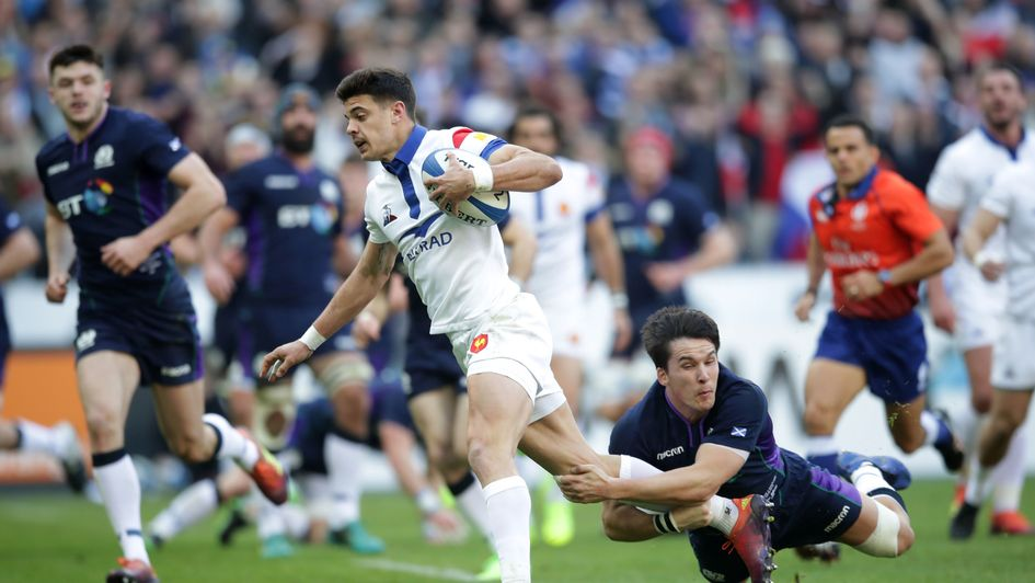 France's Romain Ntamack scores his side's first try