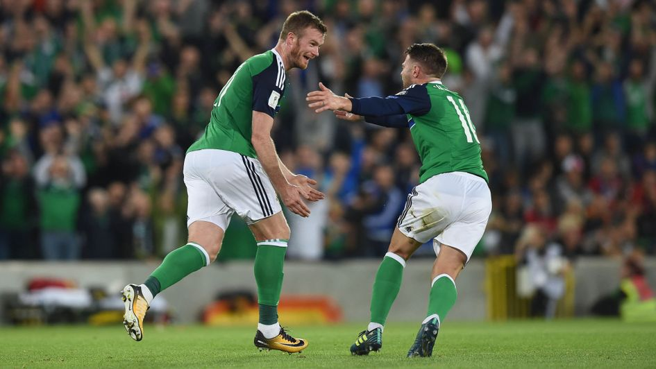Chris Brunt celebrates for Northern Ireland