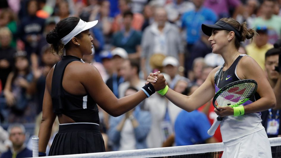 Bencic (right) got the better of Osaka in New York