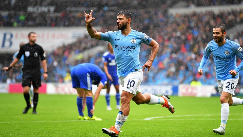 Sergio Aguero celebrates a goal for Manchester City against Cardiff