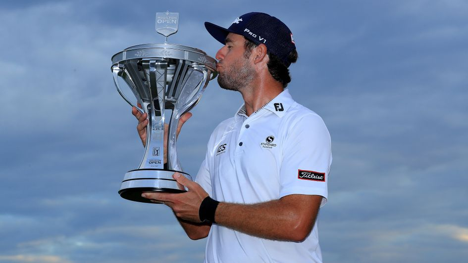 Lanto Griffin: The 31-year-old American celebrates with the Houston Open trophy