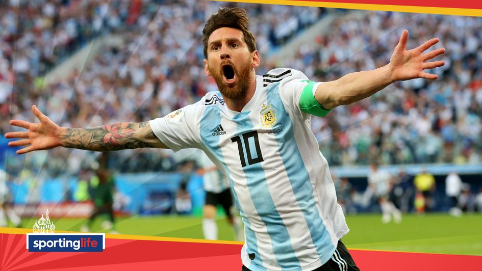 Lionel Messi celebrates scoring for Argentina against Nigeria