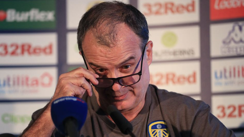 Marcelo Bielsa during his first press conference as Leeds United boss
