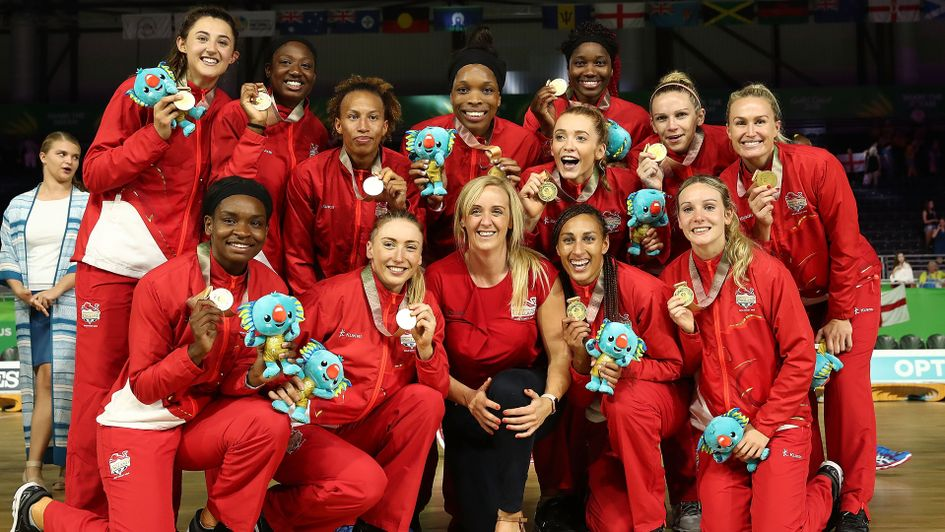 Celebrations for the England netball team