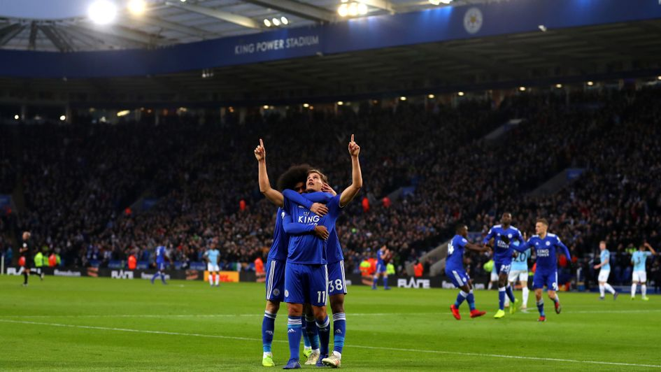 Marc Albrighton celebrates his goal for Leicester against Man City