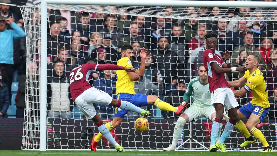 Jonathan Kodjia scores for Aston Villa against Birmingham City at Villa Park