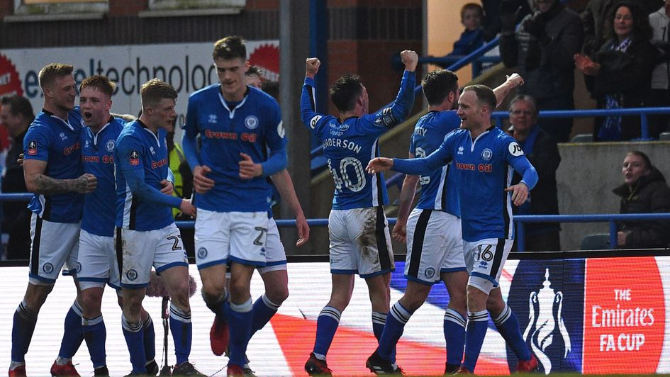 Ian Henderson and Rochdale celebrate at Spotland