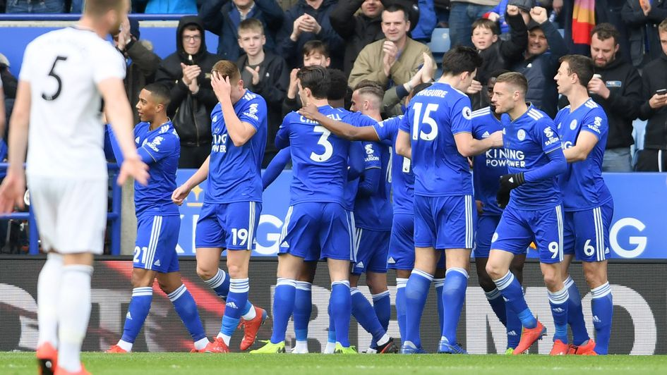 Celebrations for Leicester after Youri Tielemans' goal against Fulham