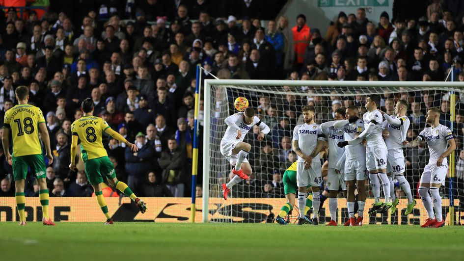 Mario Vrancic scores his free-kick against Leeds