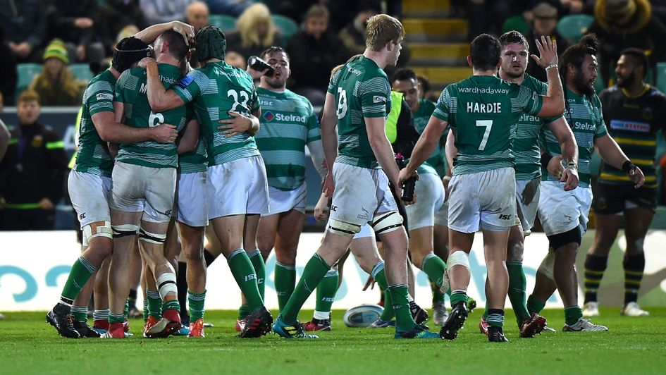 Newcastle Falcons players celebrate their second win in a row