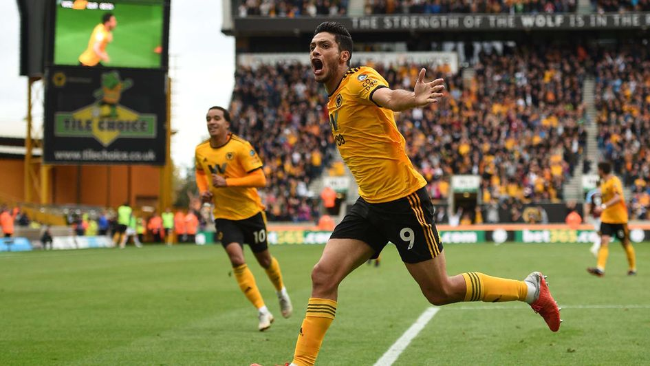 Raul Jimenez celebrates scoring for Wolves against Burnley