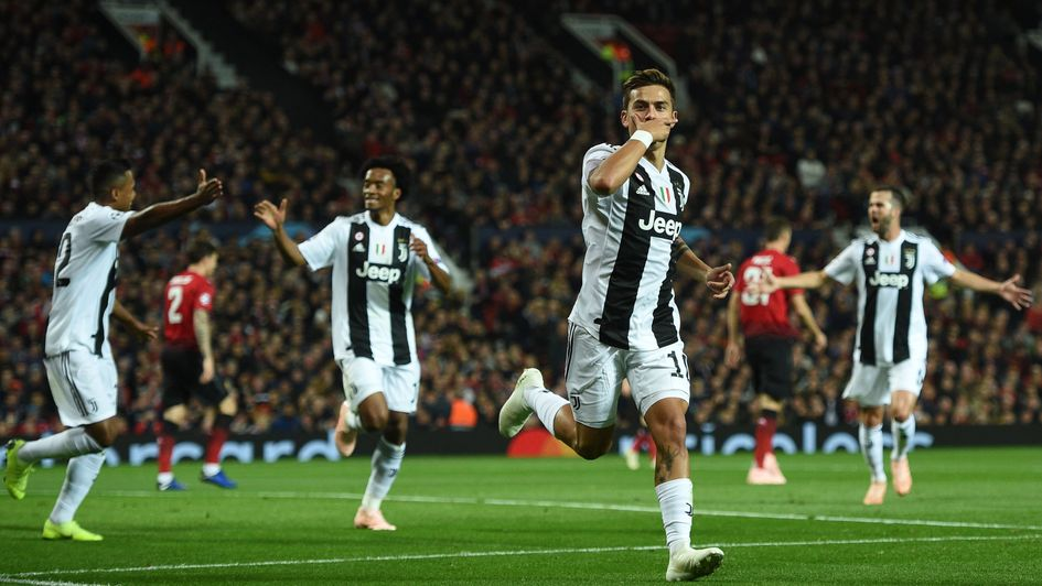 Juventus forward Paulo Dybala celebrates his goal at Manchester United in the Champions League