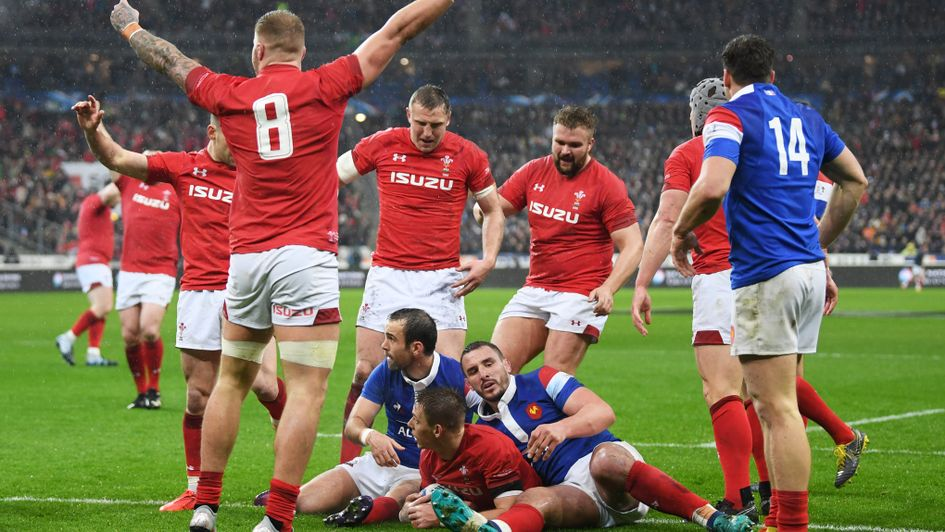Celebrations for Wales as Liam Williams crosses the line against France in the Six Nations