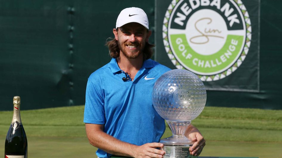 Tommy Fleetwood celebrates winning the Nedbank Golf CHallenge