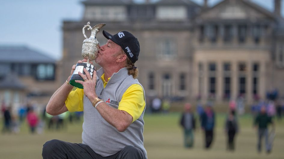 Miguel Angel Jimenez celebrates