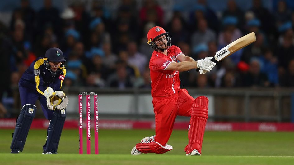 Karl Brown in action for Lancashire