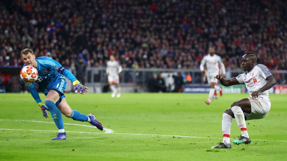 Sadio Mane scores for Liverpool against Bayern in the Champions League