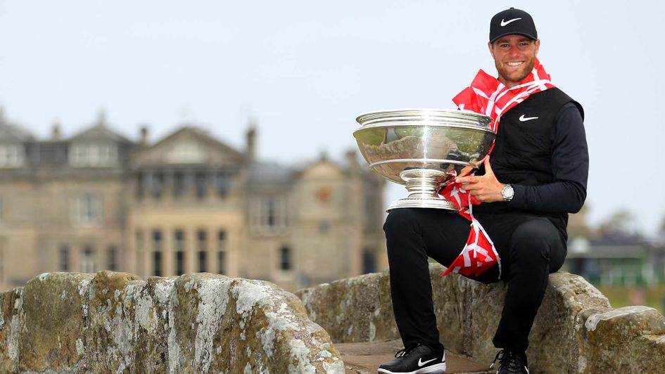 Lucas Bjerregaard celebrates winning the Dunhill Links at St Andrews