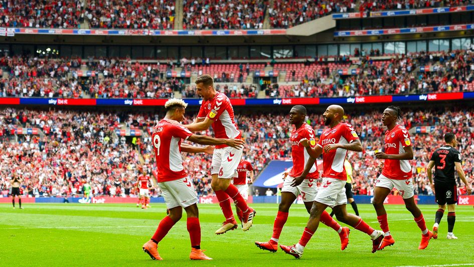 Charlton celebrate Ben Purrington's goal in the Sky Bet League One play-off final