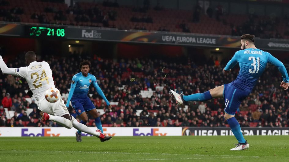 Sead Kolasinac scores for Arsenal against Ostersunds