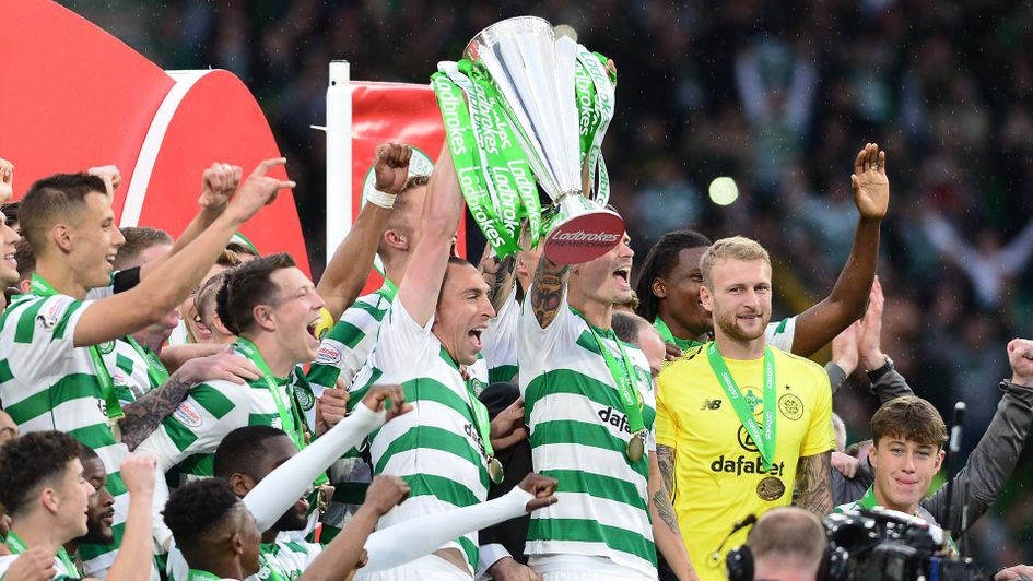 Celtic celebrate winning the Scottish title for the eighth time in a row
