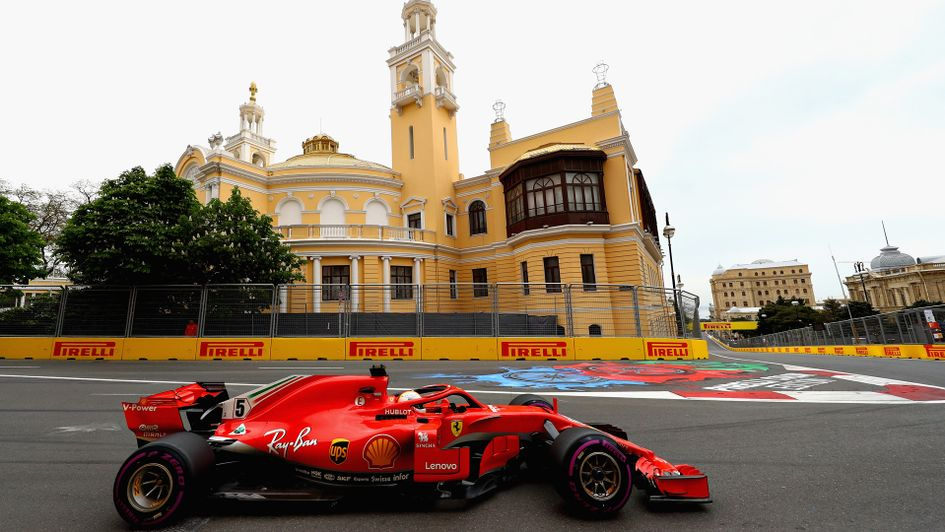 Sebastian Vettel on his way to pole position in Azerbaijan