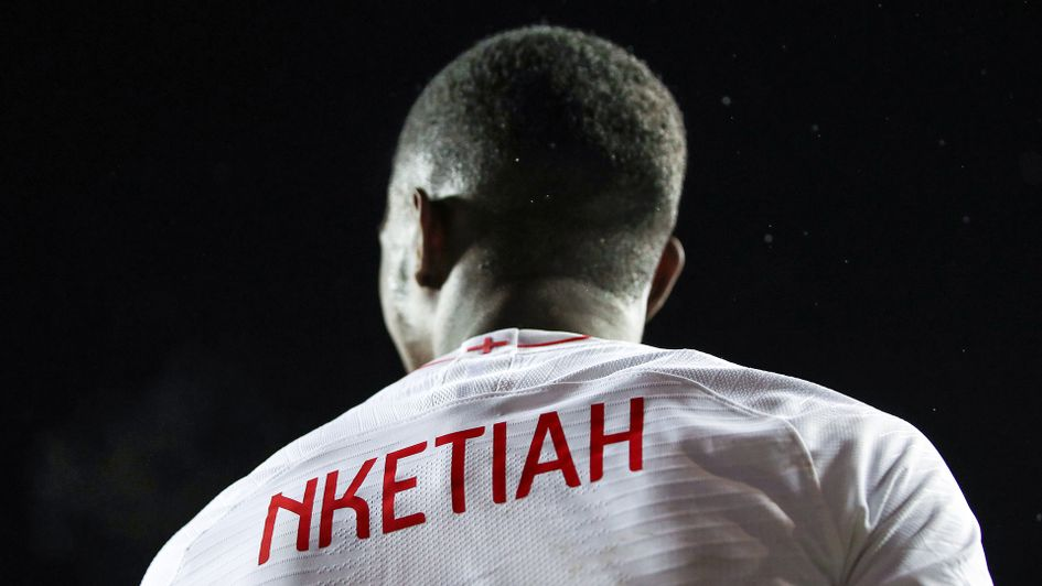 Eddie Nketiah in action for England u21s against Austria
