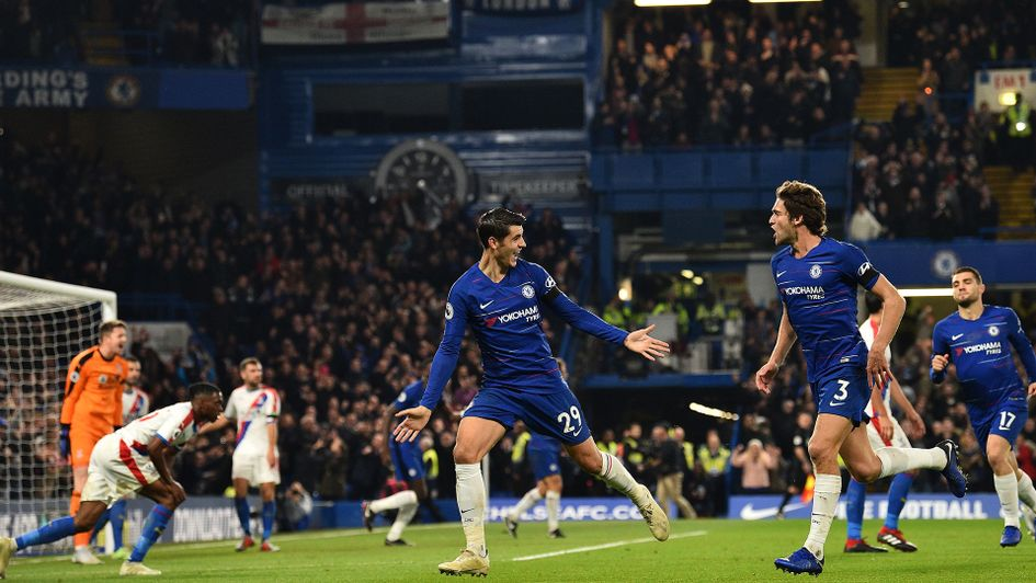 Alvaro Morata celebrates after scoring against Crystal Palace