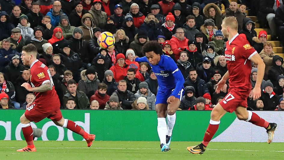 Willian makes it 1-1 for Chelsea against Liverpool