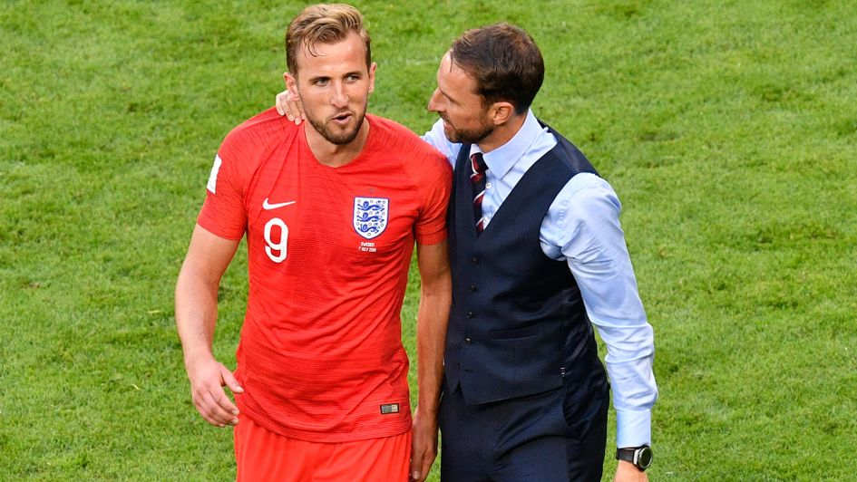 Gareth Southgate and Harry Kane after England's win over Sweden