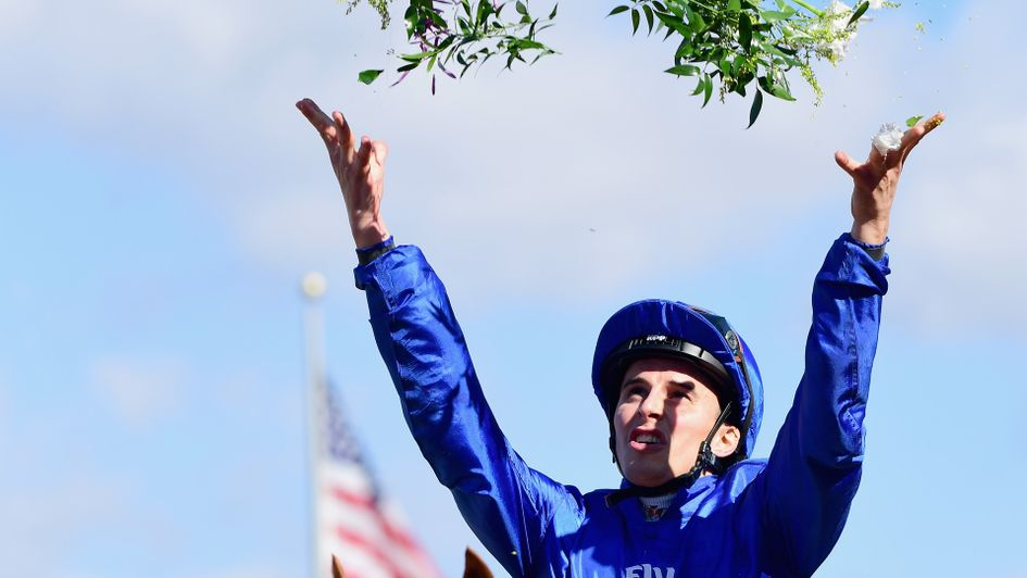 William Buick celebrates after winning on Wuheida