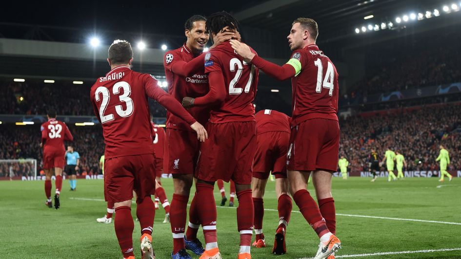 Liverpool celebrate Divock Origi's second goal in the Champions League v Barcelona