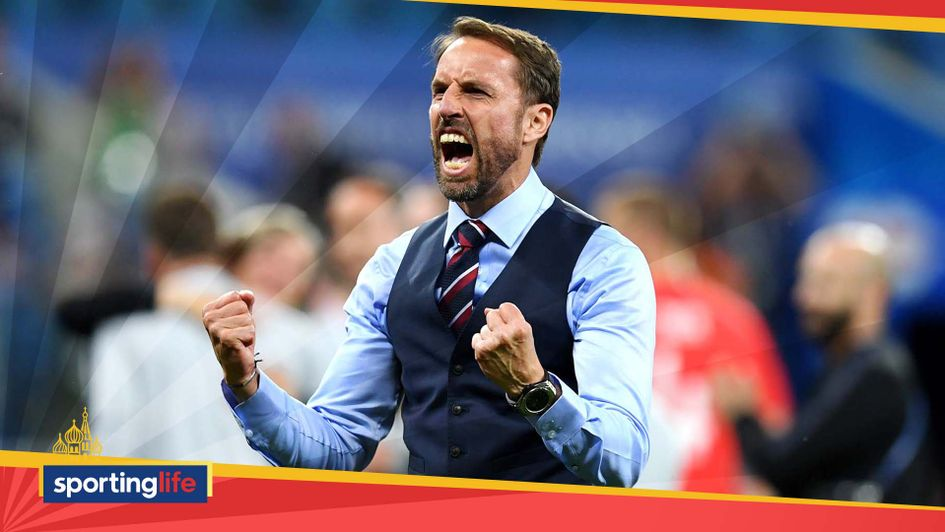 Gareth Southgate celebrates England win at the World Cup
