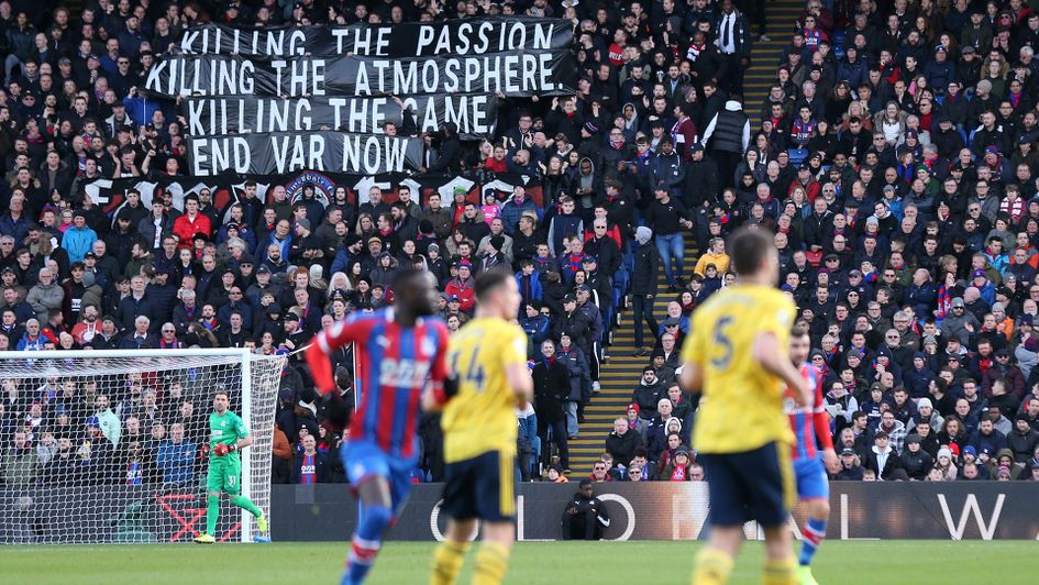 Crystal Palace fans protest against VAR
