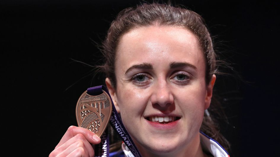Laura Muir with her World Indoor Championships bronze medal