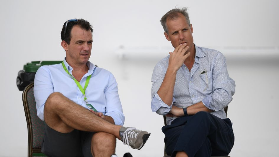 Chairman of Selectors Ed Smith talks with ECB Chief Executive Tom Harrison