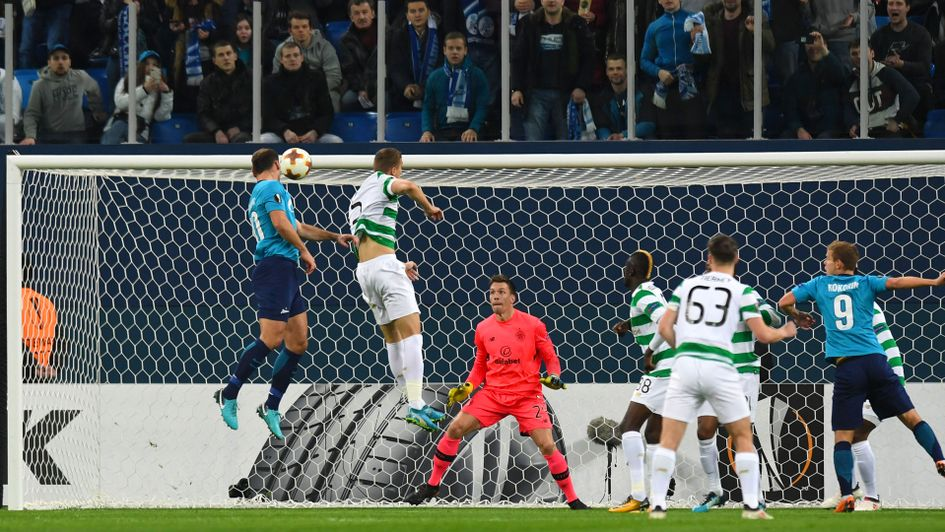 Branislav Ivanovic makes it 1-0 for Zenit at home to Celtic