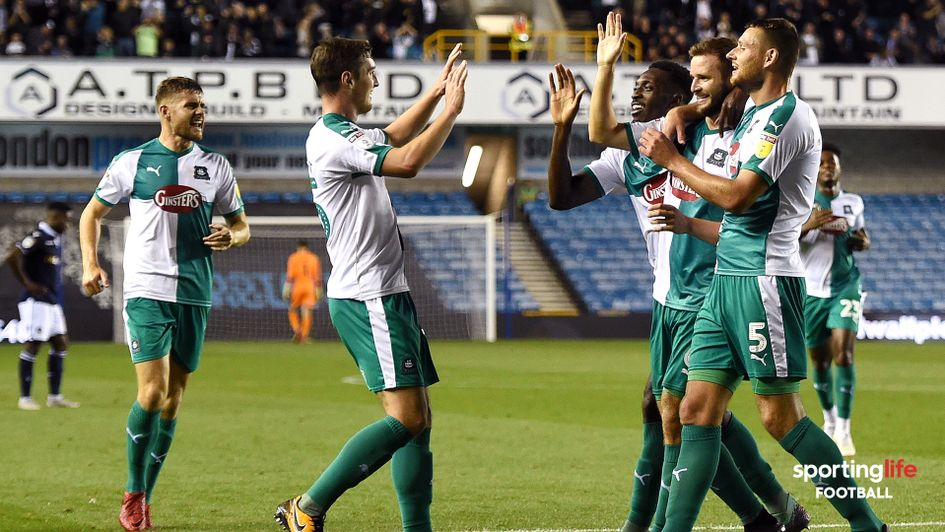 Plymouth celebrate after scoring against Millwall